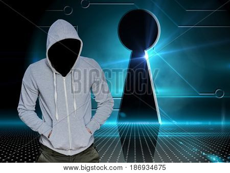 Digital composite of Grey jumper hacker with out face with his hands on his pockets, lock.
