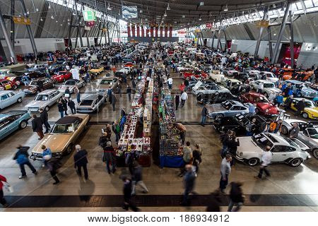 STUTTGART GERMANY - MARCH 03 2017: Exhibition pavilion with various cars. View from above. Europe's greatest classic car exhibition