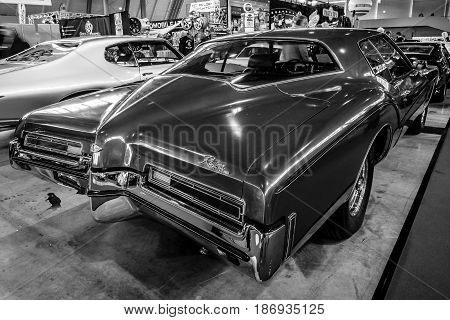 STUTTGART GERMANY - MARCH 03 2017: Personal luxury car Buick Riviera 1972. Rear view. Black and white. Europe's greatest classic car exhibition
