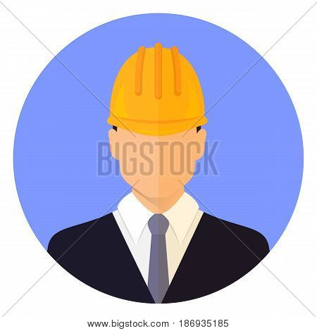 Builder male head wearing a helmet. Flat design. Avatar. Stock vector