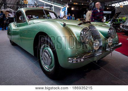 STUTTGART GERMANY - MARCH 03 2017: Sports car Jaguar XK120 Coupe 1953. Europe's greatest classic car exhibition
