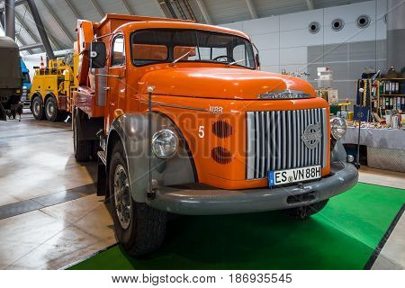 STUTTGART GERMANY - MARCH 03 2017: Heavy duty truck Volvo Titan (N88) 1973. Europe's greatest classic car exhibition