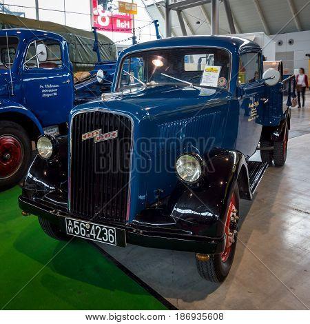 STUTTGART GERMANY - MARCH 03 2017: Truck Opel Blitz 1948. Europe's greatest classic car exhibition