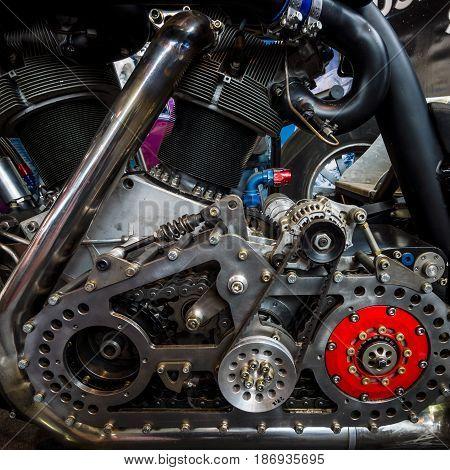 STUTTGART GERMANY - MARCH 03 2017: Engine of the world's biggest motorcycle Leonhardt Gunbus 410. Europe's greatest classic car exhibition