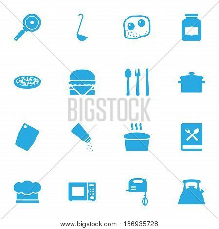 Set Of 16 Kitchen Icons Set.Collection Of Non-Stick, Chef Cap, Electronic Oven And Other Elements.