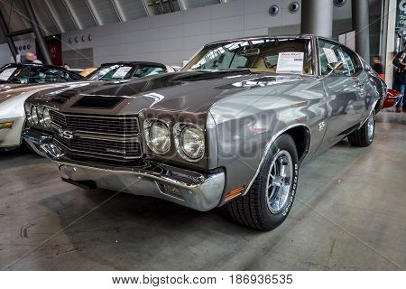 STUTTGART GERMANY - MARCH 03 2017: Mid-size car Chevrolet Chevelle SS 1970. Europe's greatest classic car exhibition