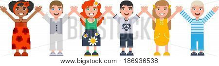 International Childrens Day. Boys and girls are holding hands. Isolated on white vector cartoon illustration