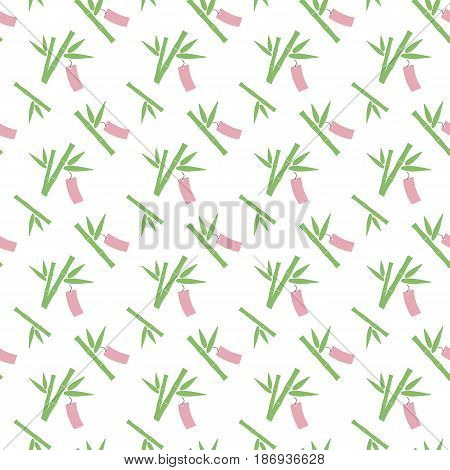 Seamless pattern with bamboo with paper strip Flat design of Tanabata Japanese stars festival symbol swatch inside