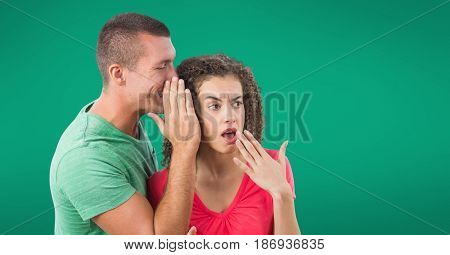 Digital composite of Whispering couple against green background