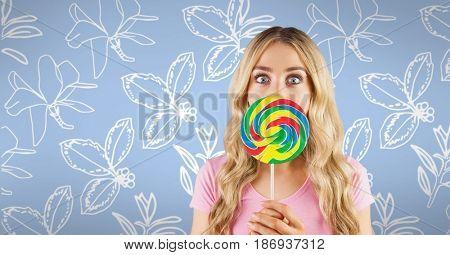Digital composite of composite image of smiling woman against original background