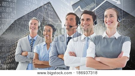 Digital composite of Composite image of people in a call center