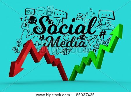 Digital composite of Composite image about social media in 3d