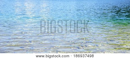 View on Texture of blue mountian lake water