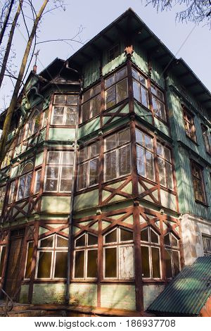 old wooden house in the forest. Russia Kaliningrad Svetlogorsk