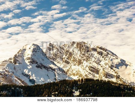 View on Watzmann mountain landscape in Bavaria