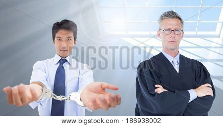 Digital composite of Judge and criminal in front of window