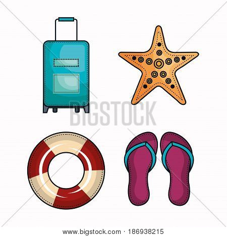 Suitcase, starfish, lifesaver and flip flops over white background. Vector illustration.