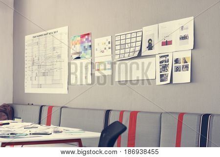 Startup Business Wall Showing Task Strategy Plan Mission