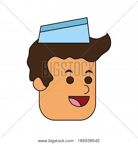 color image cartoon face male food seller with cap vector illustration