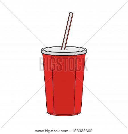 color image cartoon plastic soda disposable cup with lid and straw vector illustration