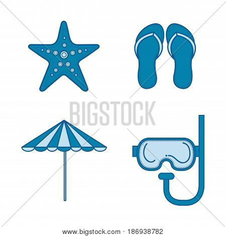 Blue objects related to traveling over white background. Vector illustration.