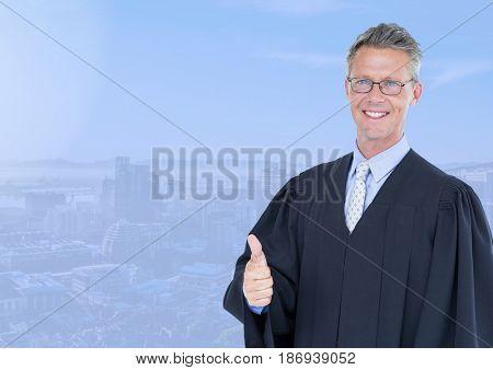 Digital composite of Judge in front of blue city background
