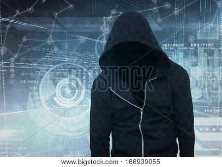 Digital composite of Black jumper hacker, in front of the white interface