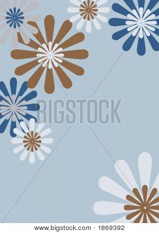 Retro Brown & Blue Floral Background