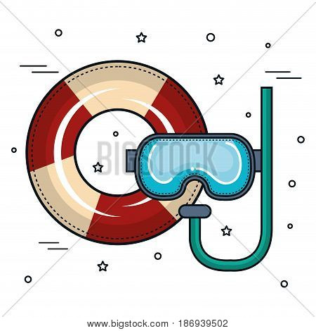 Lifesaver and snorkel over white background. Vector illustration.