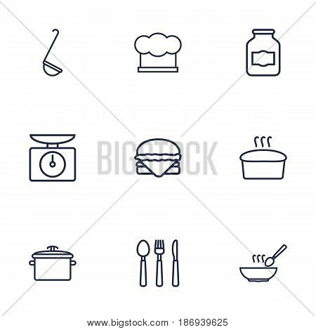 Set Of 9 Culinary Outline Icons Set.Collection Of Pan, Hat, Ladle And Other Elements.