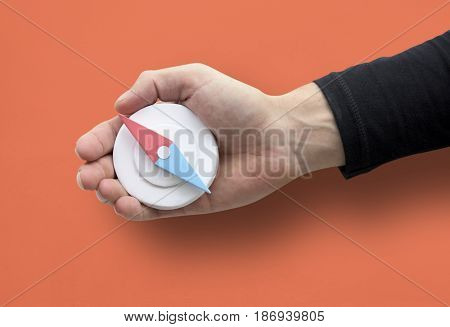 Human Hand Holding Compass Navigation Direction