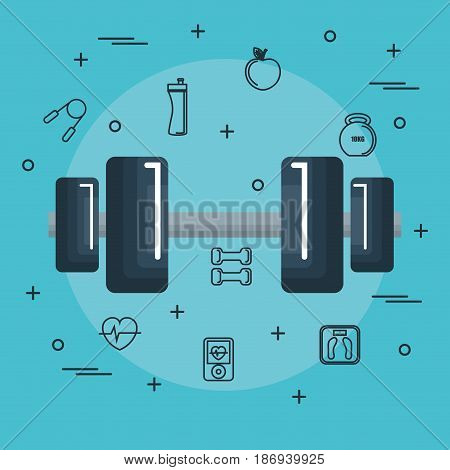 Dumbbell with hand drawn objects related to exercise over blue background. Vector illustration.