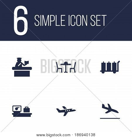 Set Of 6 Land Icons Set.Collection Of Carriage, Letdown, Security And Other Elements.