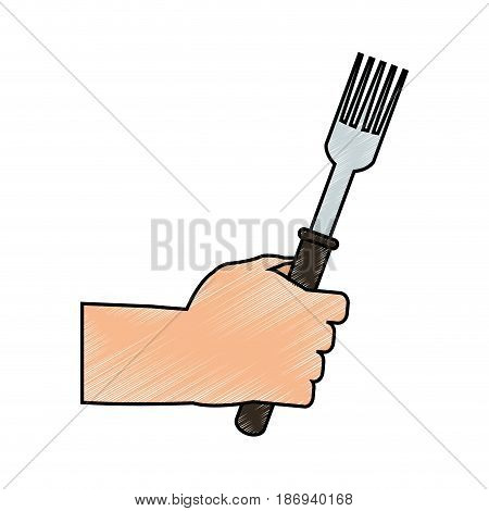 color pencil cartoon hand holding a fork ready to eat vector illustration