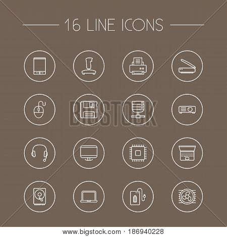Set Of 16 Notebook Outline Icons Set.Collection Of Laptop, Printer, Floppy And Other Elements.