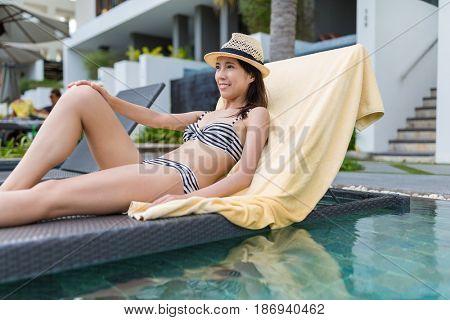 Woman enjoy sun bath