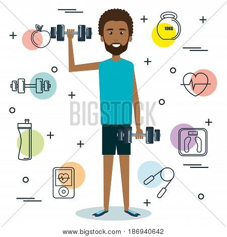 Exercising afro american man holding a dumbbell surrounded by related objects over white background. Vector illustration.