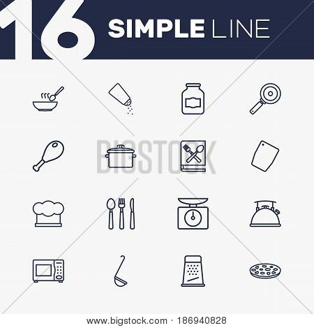 Set Of 16 Culinary Outline Icons Set.Collection Of Jug, Book Of Recipes, Grater And Other Elements.