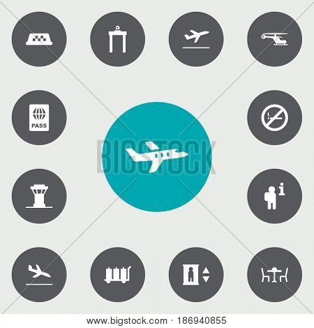 Set Of 13 Airplane Icons Set.Collection Of Cab, Data, Lift And Other Elements.