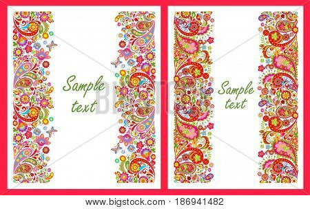 Summery greeting cards with seamless decorative colorful floral borders
