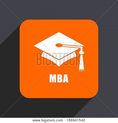 Mba orange flat design web icon isolated on gray background