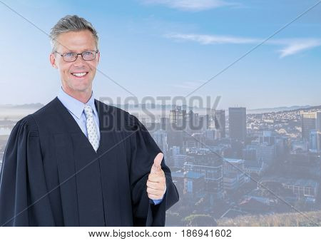 Digital composite of Judge in front of city