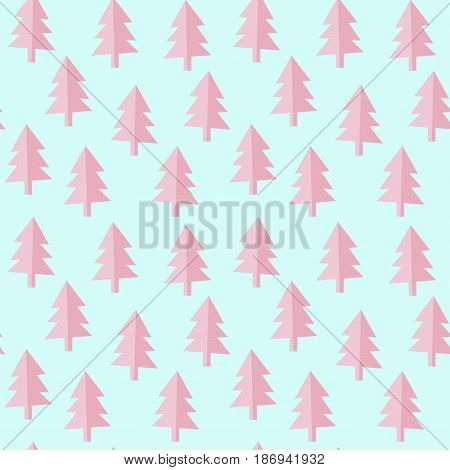 seamless pink blue firs pattern, vector illustration, editable background color