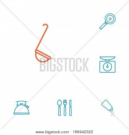 Set Of 6 Culinary Outline Icons Set.Collection Of Cutlery, Salt, Skillet And Other Elements.