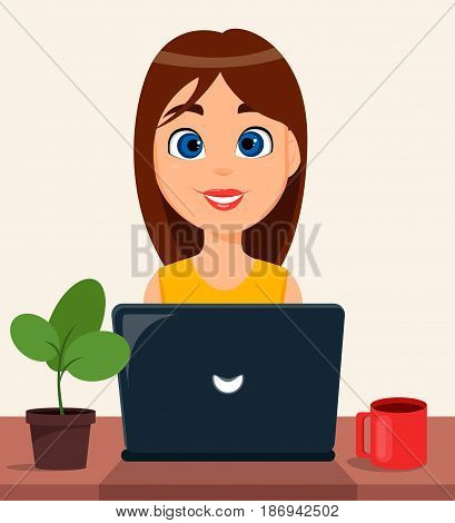 Business woman entrepreneur working on a laptop computer at her office desk. Cute cartoon character. Modern color vector illustration.