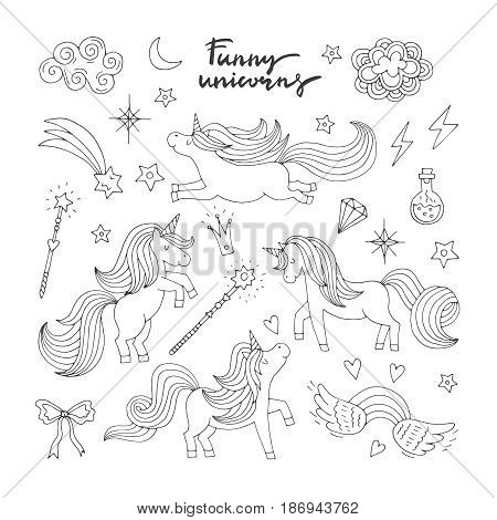 Magic funny icon set. Children doodle style. Wizard, unicorn and miracle. Vector illustration isolate on white background. Animal unicorn magic, linear fairy wild unicorn
