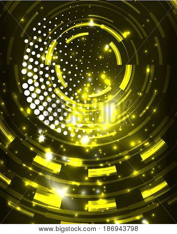 Neon yellow circles abstract pattern background