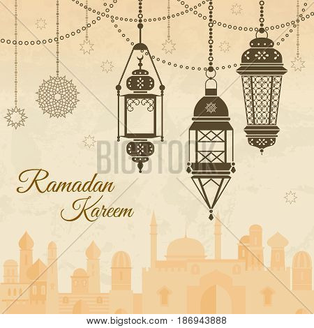 Ramadan eid mubarak Festival background with lamp of Islmaic style. Vector illustration. Banner traditional islamic ramadan, muslim lamp for festival ramadan