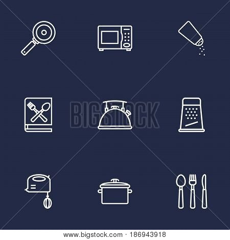 Set Of 9 Kitchen Outline Icons Set.Collection Of Skillet, Pan, Grater And Other Elements.