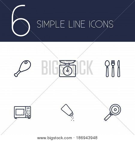 Set Of 6 Culinary Outline Icons Set.Collection Of Cutlery, Skillet, Chicken Leg And Other Elements.